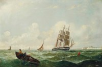 A merchantman and fishing boats in the Channel