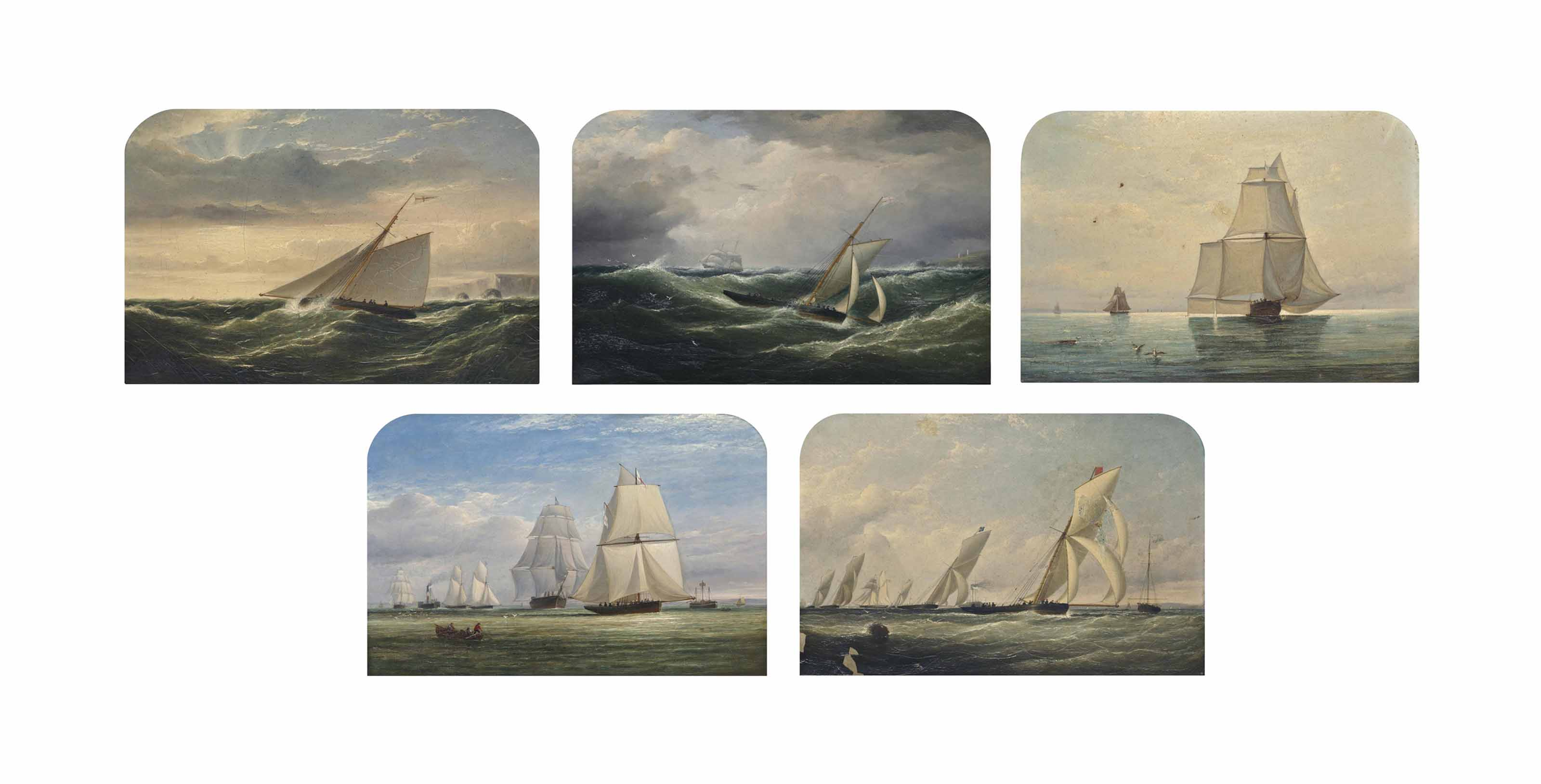 A series of five paintings depicting a racing cutter of the Royal Yacht Squadron competing at the Royal Mersey Regatta and on passage: Reefed-down as she heads for the Mersey off the North Anglesey coast; Running before a following wind off Carmel Head, Anglesey, following her departure from the Mersey; Racing downwind and goose-winged with every feather spread; Leading the fleet past the North West Lightship in Liverpool Bay on a downwind leg; and Leading her competitors across the finish line with the mark boat off her port side (all illustrated)