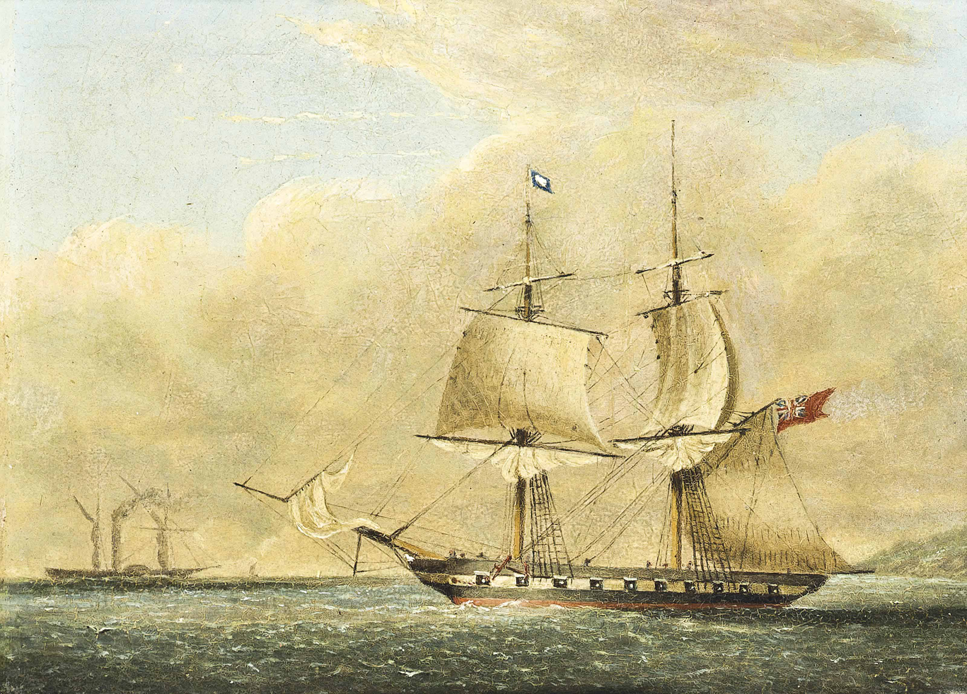 H.M.S. Nimrod emerging from Plymouth Sound