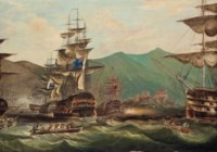 The British and Dutch fleets getting underway from their anchorage