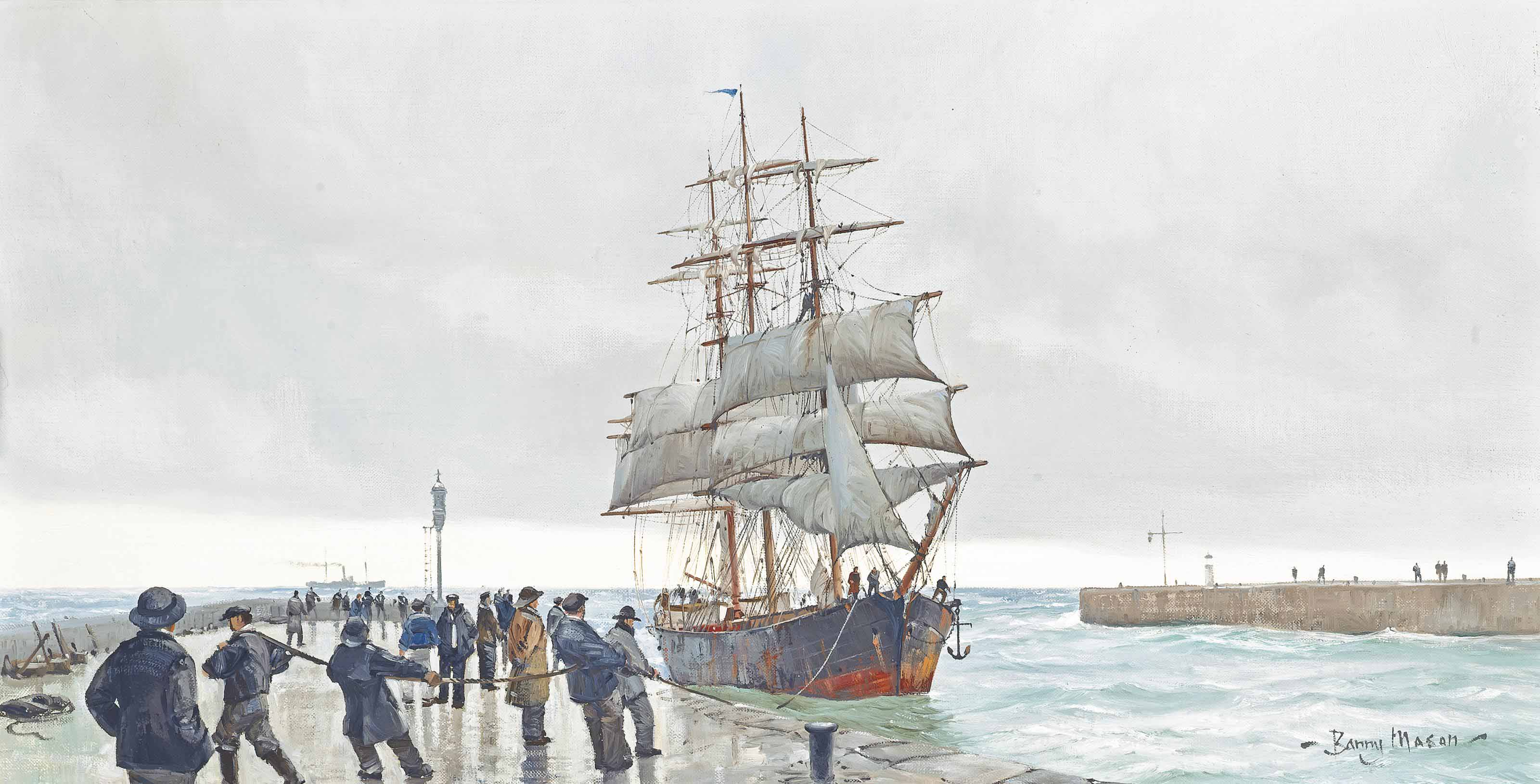 A windjammer limping into port and being pulled alongside the quay