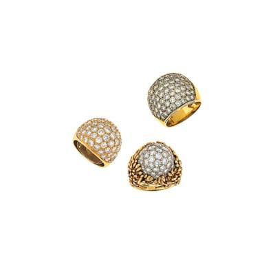 Three diamond-set dress rings