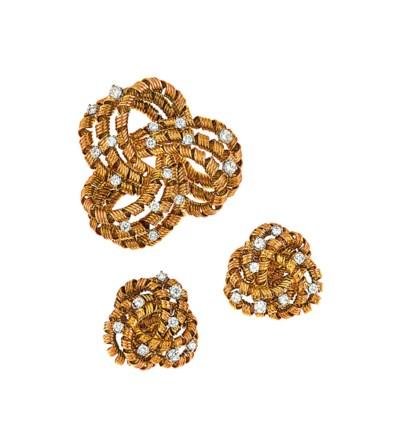 An 18ct gold and diamond brooc