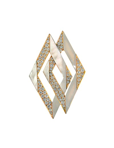 A mother-of-pearl and diamond
