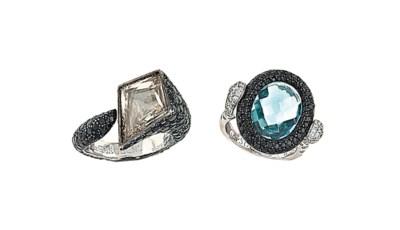 Two gem-set dress rings, by De