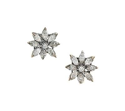 A pair of diamond 'Daisy' earr