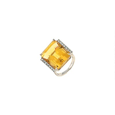 An 18ct white gold yellow citr