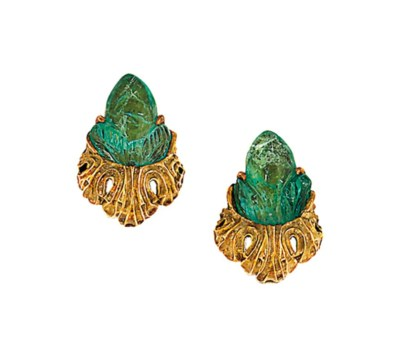 A pair of emerald earrings, by