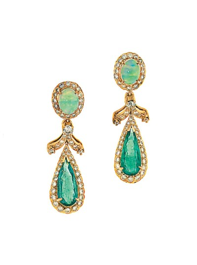 A pair of opal, emerald and di