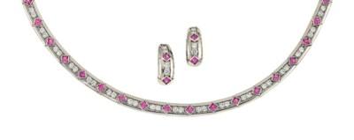 A pink sapphire and diamond ne