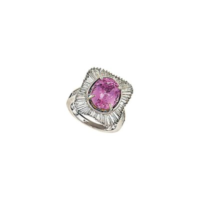 A pink topaz and diamond clust