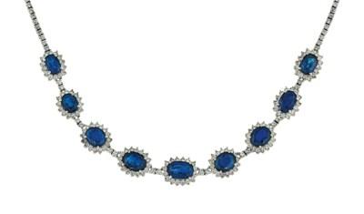 A sapphire and diamond neckace