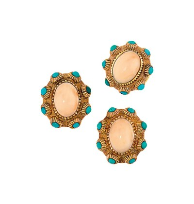 A coral and turquoise ring and