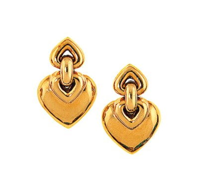 A pair of 18ct gold earrings,