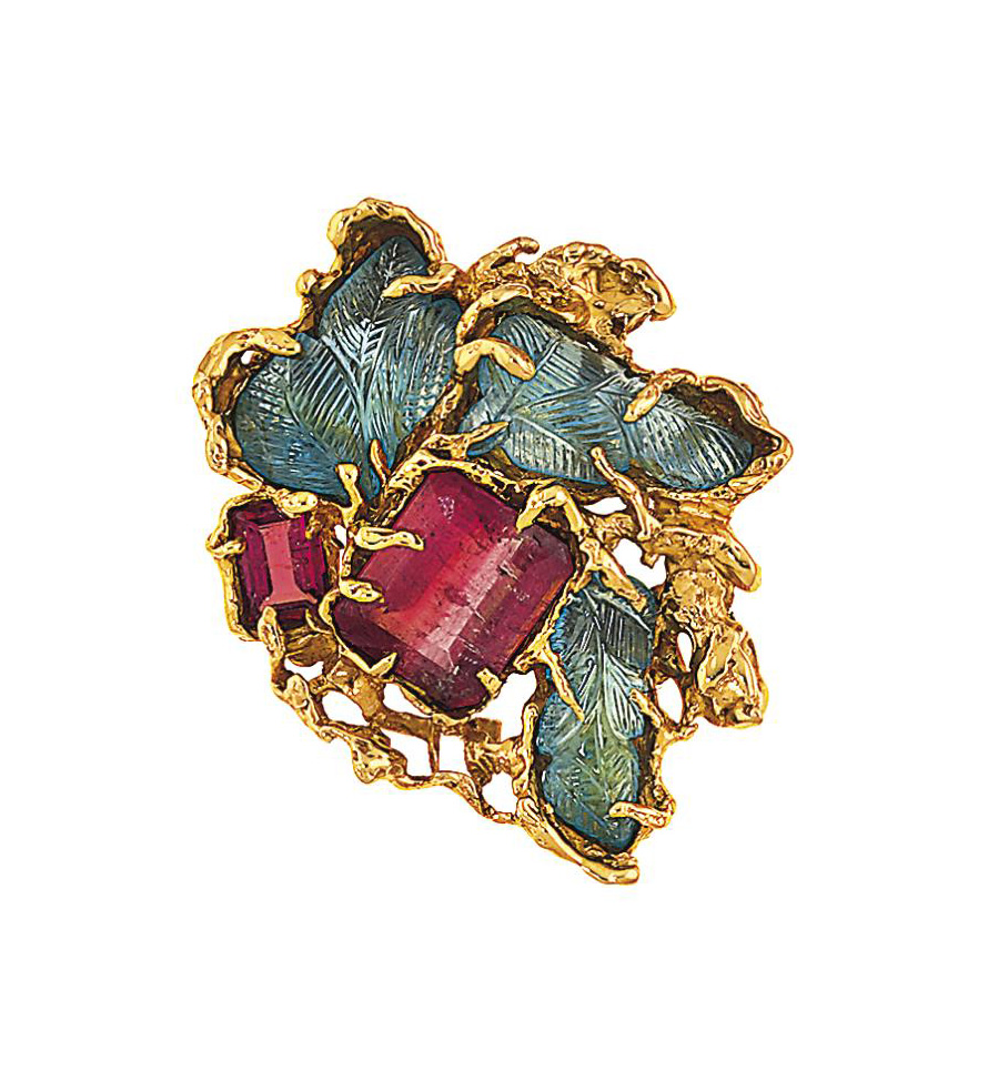 An aquamarine and tourmaline brooch, by Arthur King