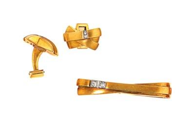 A pair of 18ct gold diamond-se