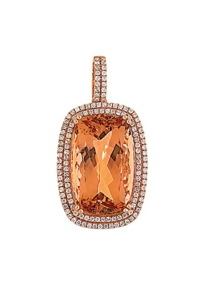 A morganite and diamond pendan