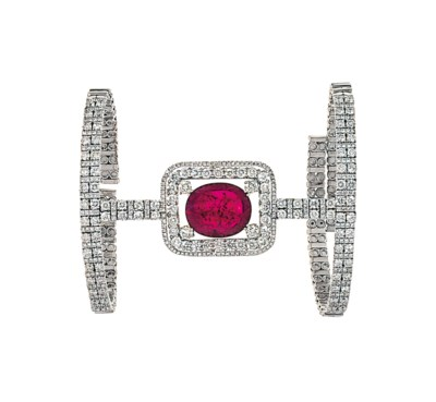 A ruby and diamond cuff