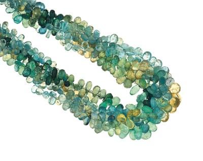 A multi-gem torsade necklace