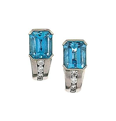 A pair of platinum, aquamarine