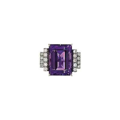 An 18ct white gold, amethyst a