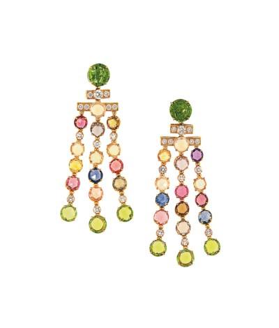 A pair of diamond and gem-set