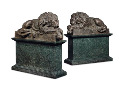 A LARGE PAIR OF BRONZE MODELS