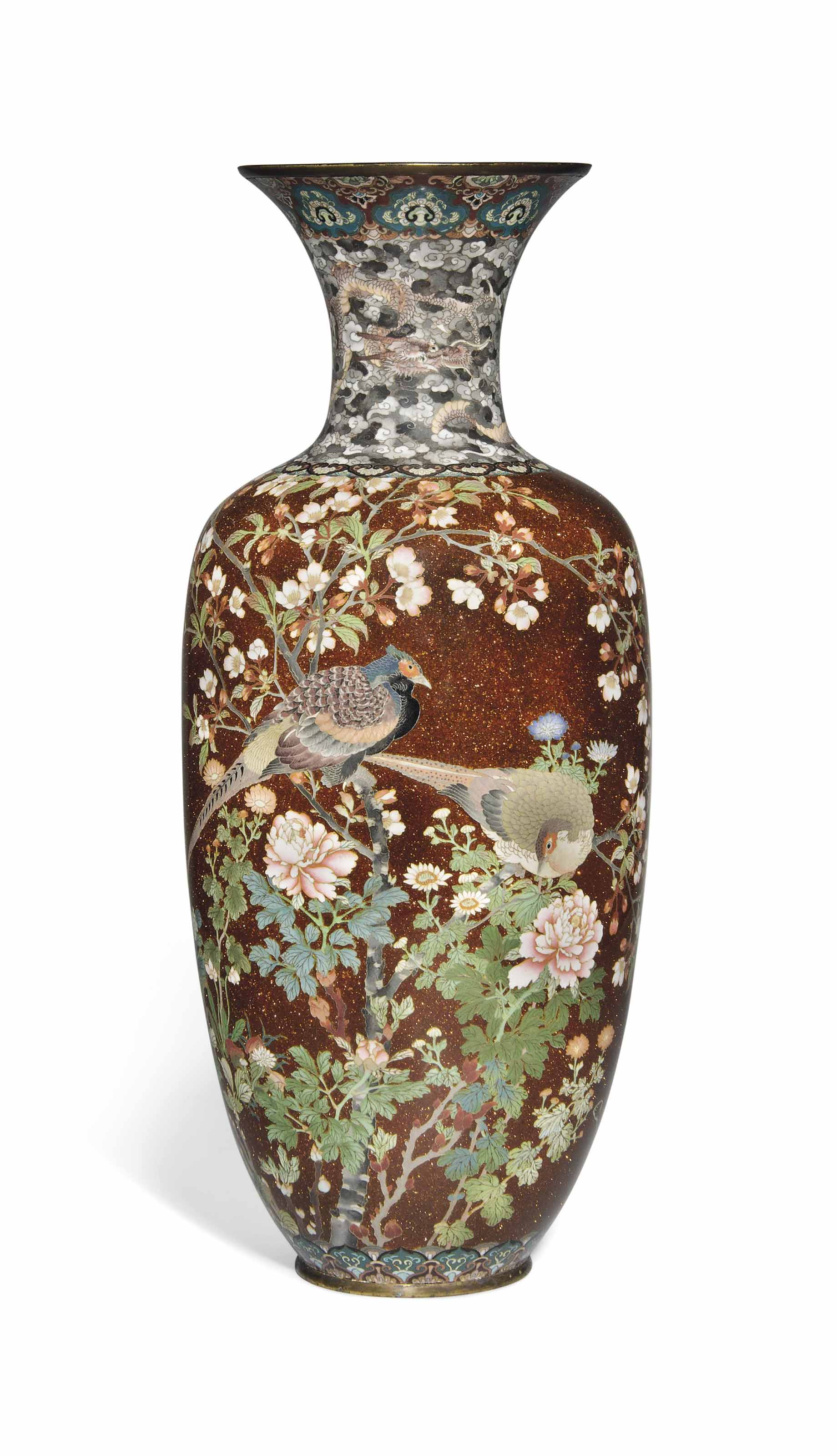 A Large Japanese Cloisonne Enamel And Goldstone Vase Meiji Period Late 19th Century Christie S