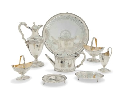 A GEORGE III EIGHT-PIECE SILVE