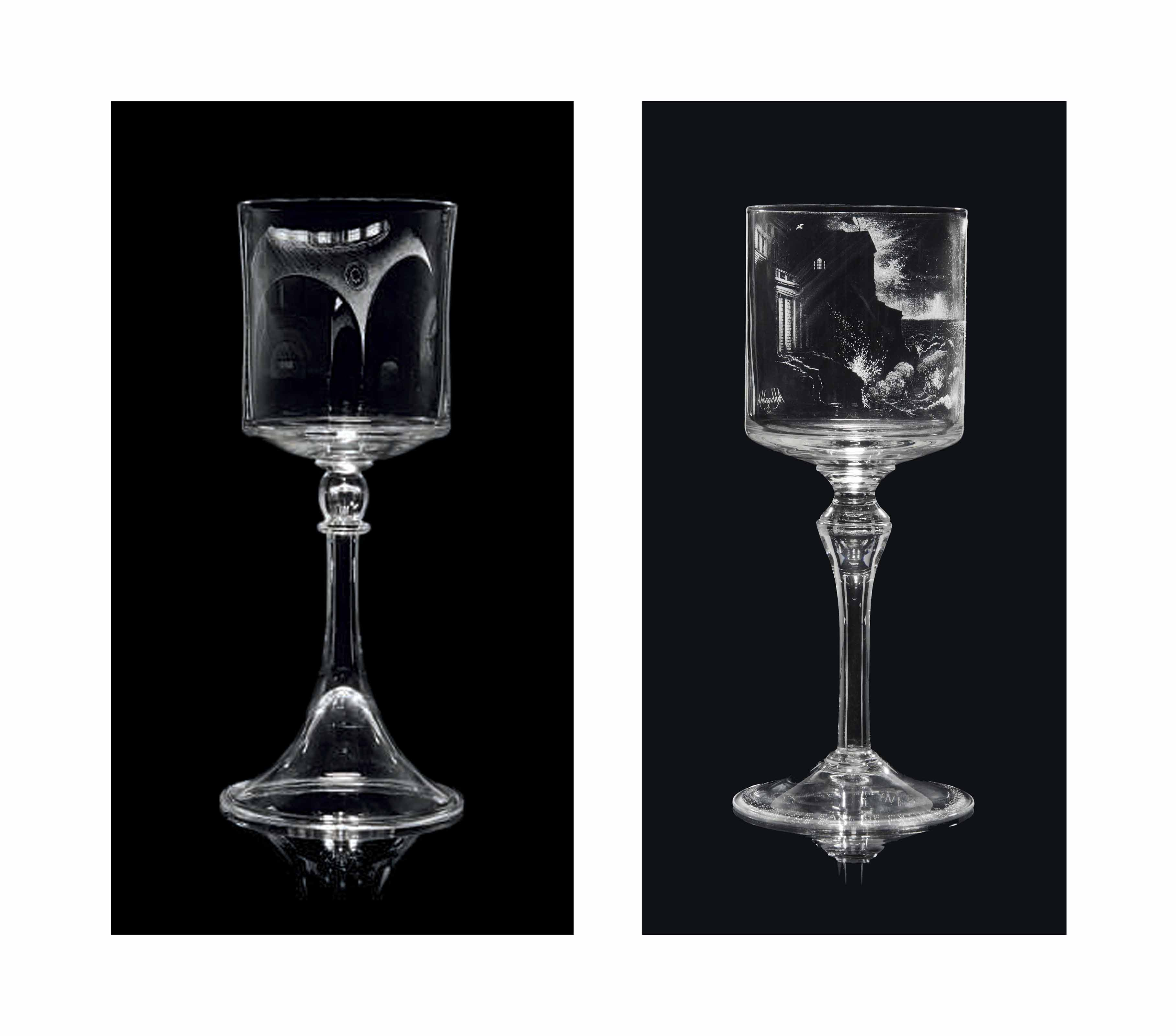 TWO SIR LAURENCE WHISTLER (1912-2000) ENGRAVED GLASS GOBLETS