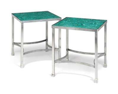 A PAIR OF STEEL AND MALACHITE