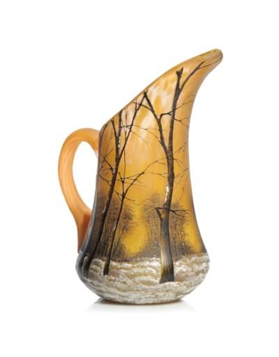 A DAUM ENAMELLED GLASS JUG