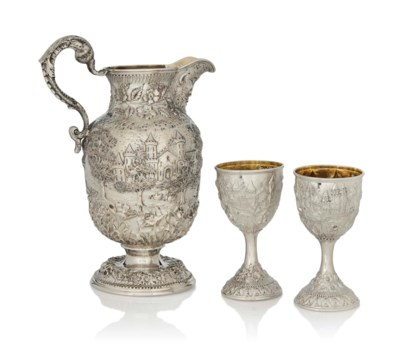 AN AMERICAN SILVER JUG AND TWO