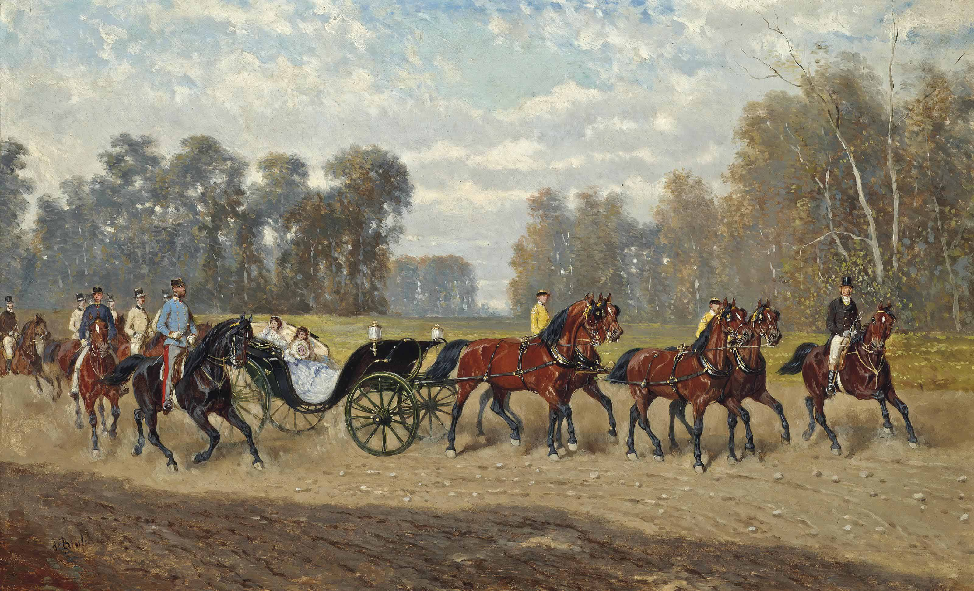 The Imperial entourage with Emperor Franz Josef I (1848-1916) on his horse, Empress Elisabeth (1854-1898) (known as Sisi) and their youngest daughter Archduchess Marie Valerie (1868-1924) in the carriage
