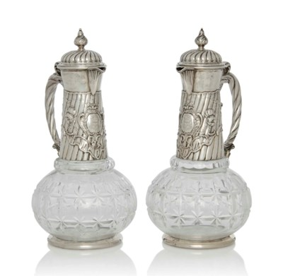 A PAIR OF GERMAN SILVER-MOUNTE