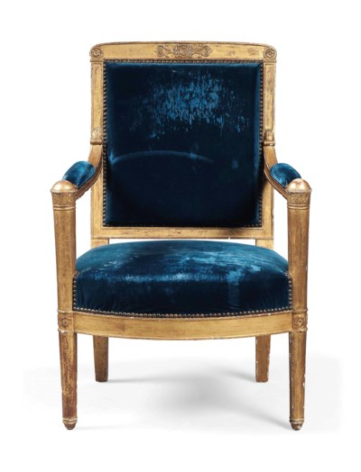 AN EMPIRE GILTWOOD FAUTEUIL