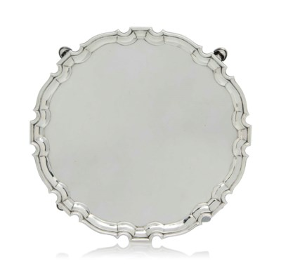 A GEORGE II SILVER SALVER WITH
