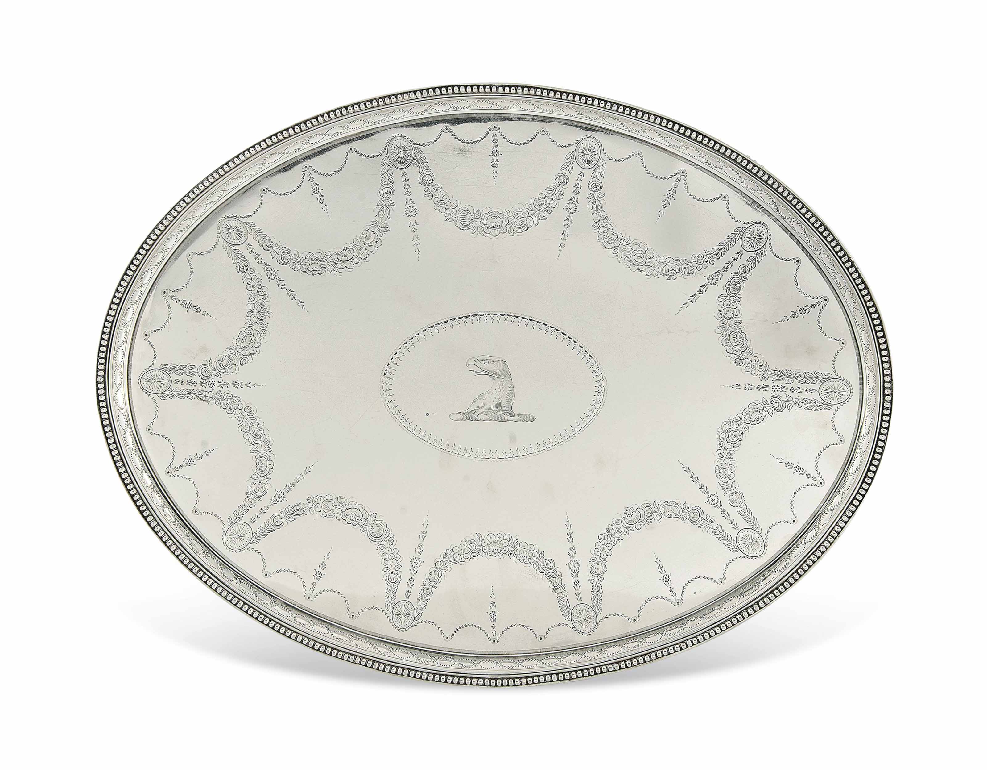 A FINE AND LARGE GEORGE III SILVER OVAL TRAY