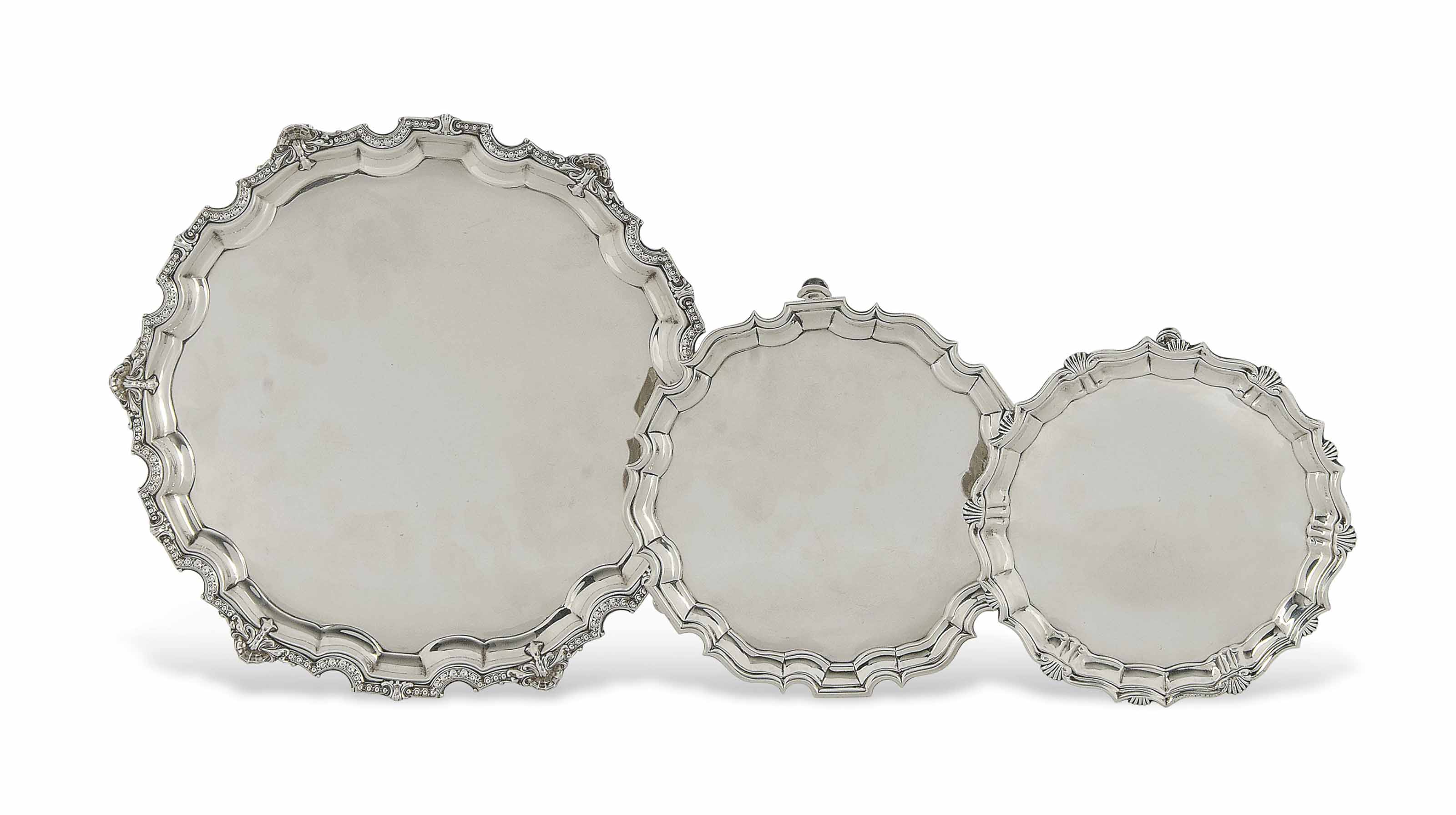 A SMALL GEORGE II SILVER SALVE