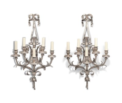 A PAIR OF SILVERED BRONZE FIVE
