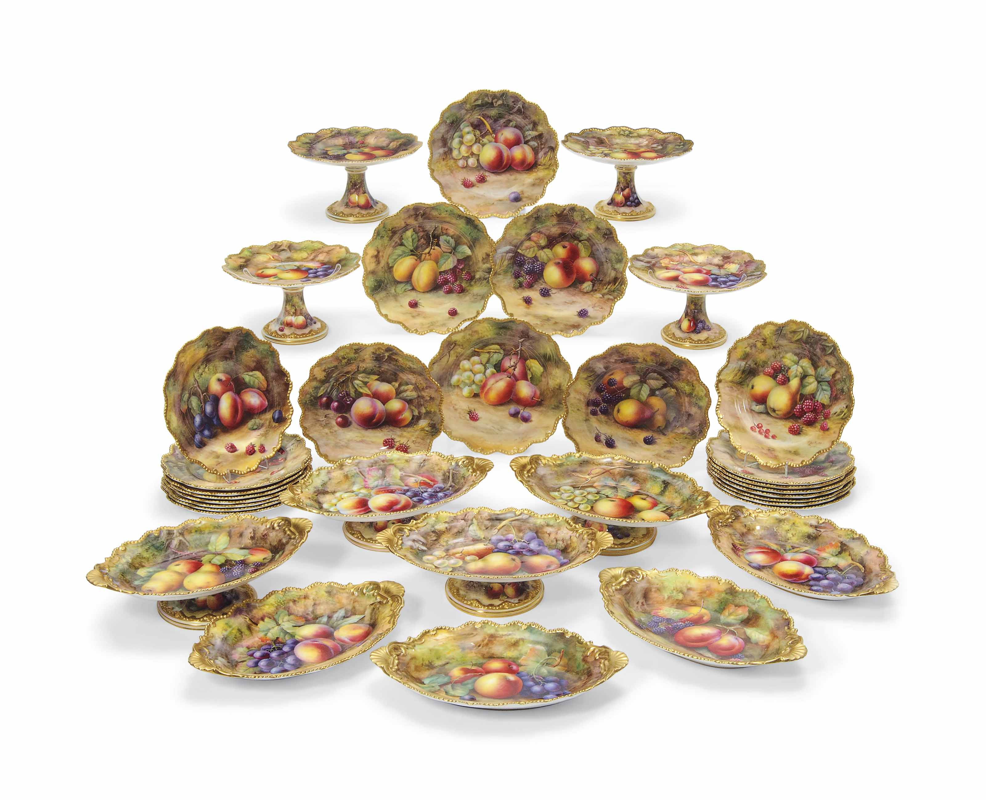 A ROYAL WORCESTER FRUIT-PAINTED PART DESSERT-SERVICE BY THOMAS LOCKYER AND HORACE PRICE