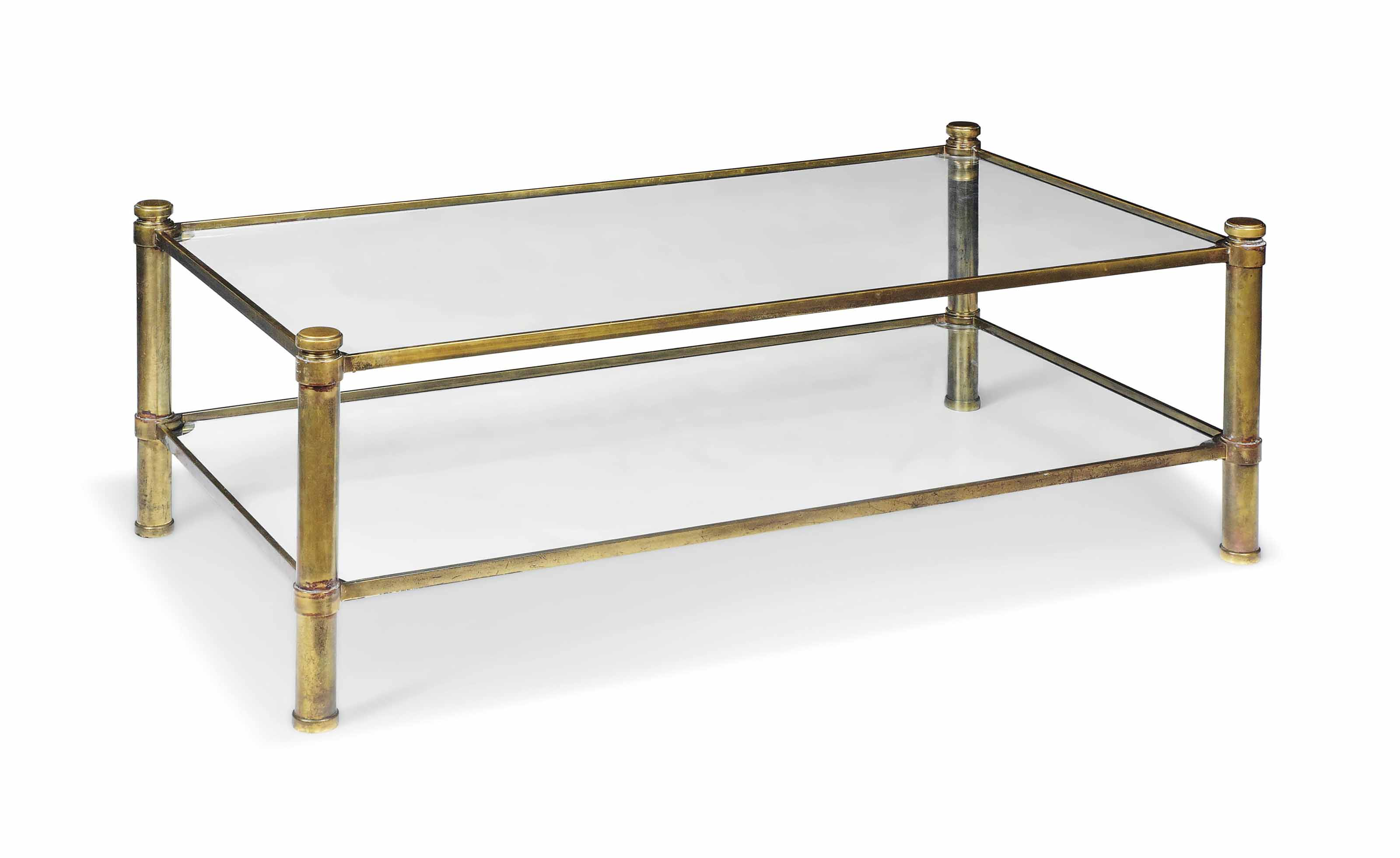 A BRASS AND GLASS TWO-TIER LOW