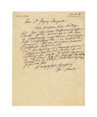 FREUD, Sigmund (1856-1939). Autograph letter signed ('Freud') to Dr Gregory Stragnell [American neuropsychiatrist, 1888-1963], Berggasse 19, Vienna, 28 November 1920, thanking him for a request [for an article] which he is unable to fulfil as he is very busy with his practice and any literary works already begun are intended for the Internationale Zeitschrift für Psychoanalyse ('da ich ärztlich sehr beschäftigt bin u. die bereits begonnenen Arbeiten für unsere Internat. Zeitschrift bestimmt sind'); he is naturally pleased to hear of the broadening interest in the USA for psychoanalsysis, though he has also heard that 'the Jungian modification, which I refuse, has also found many dedicatees there (ich … höre daß die Jung'sche Modifikation, die ich ablehne, dort viel Anhänger gefunden hat)', 2/3 page, 4to (290 x 224mm), minor yellowing and marginal wear.
