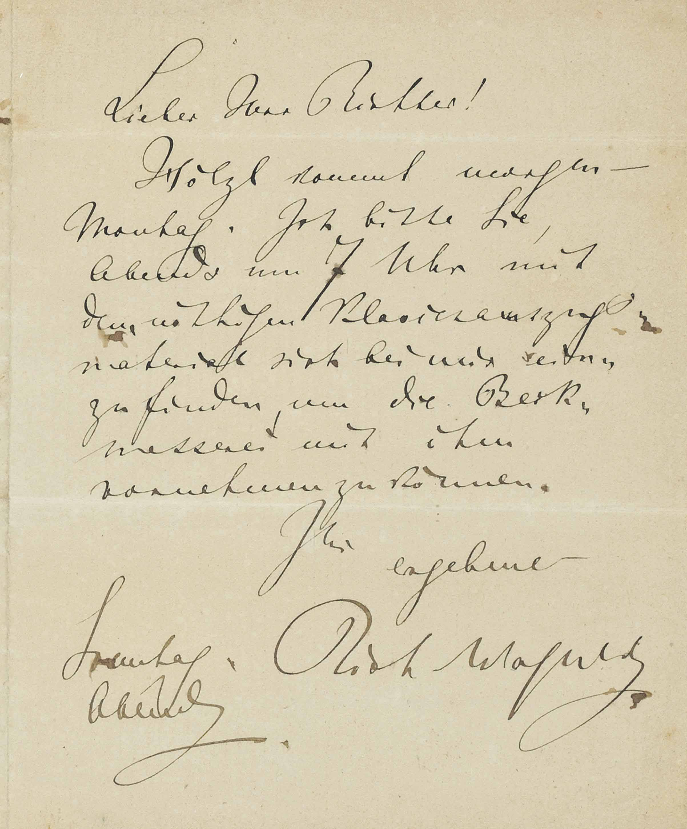 WAGNER, Richard (1813-1883). Autograph letter signed ('Rich. Wagner') to Hans Richter (here grandly entitled 'Oberhofgeneralmusikdirektor' on the address panel), n.p. [Munich], 'Sonntag Abend' [c.early June 1868], referring to rehearsals for the first performance of Meistersinger, with Gustav Hölzel in the role of Beckmesser, 'Hölzl [sic] kommt morgen – Montag. Ich bitte Sie, Abends um 7 Uhr mit dem nöthigen Klavierauszugsmaterial sich bei mir einzufinden, um die Beckmesserei mit ihm vornehmen zu können (Hölzl comes tomorrow – Monday. I beg you to come to my house at 7 o'clock in the evening with the necessary piano score, so as to be able to deal with the Beckmesser bits [Beckmesserei] with him)', one page, 12mo (140 x 105mm), integral address leaf, remnant of seal (seal tear), framed and glazed, unexamined out of frame; with ten related photographs and other items. Provenance: given to Sir Herbert Hugh Harvey by Edgar Richter, 18 May 1937 (annotation on verso of frame); two signed photographs (one in costume) and a Christmas card signed by Edgar Richter accompany the lot.