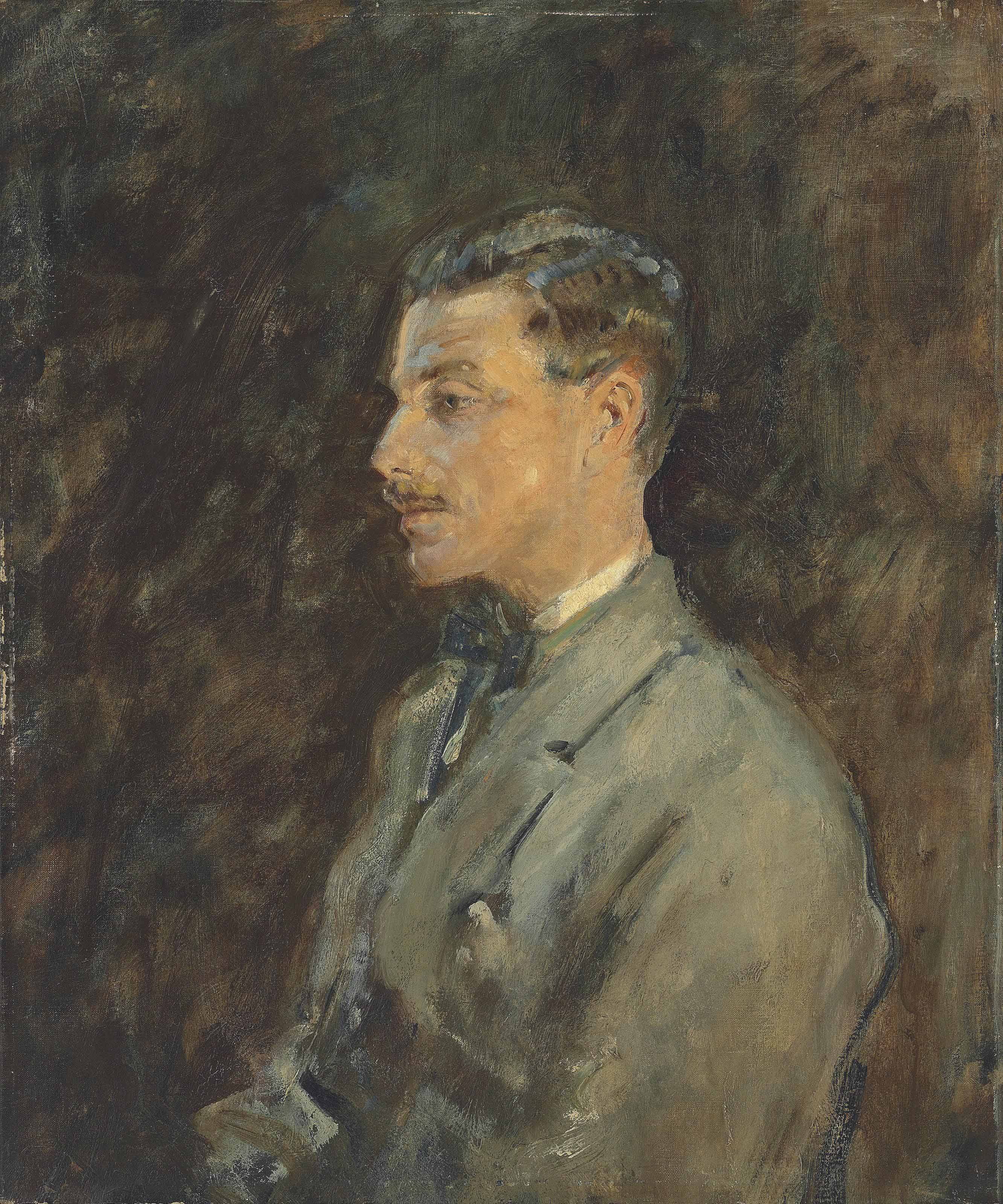 Portrait of Charles Romer Williams, profile, half-length, in a grey coat