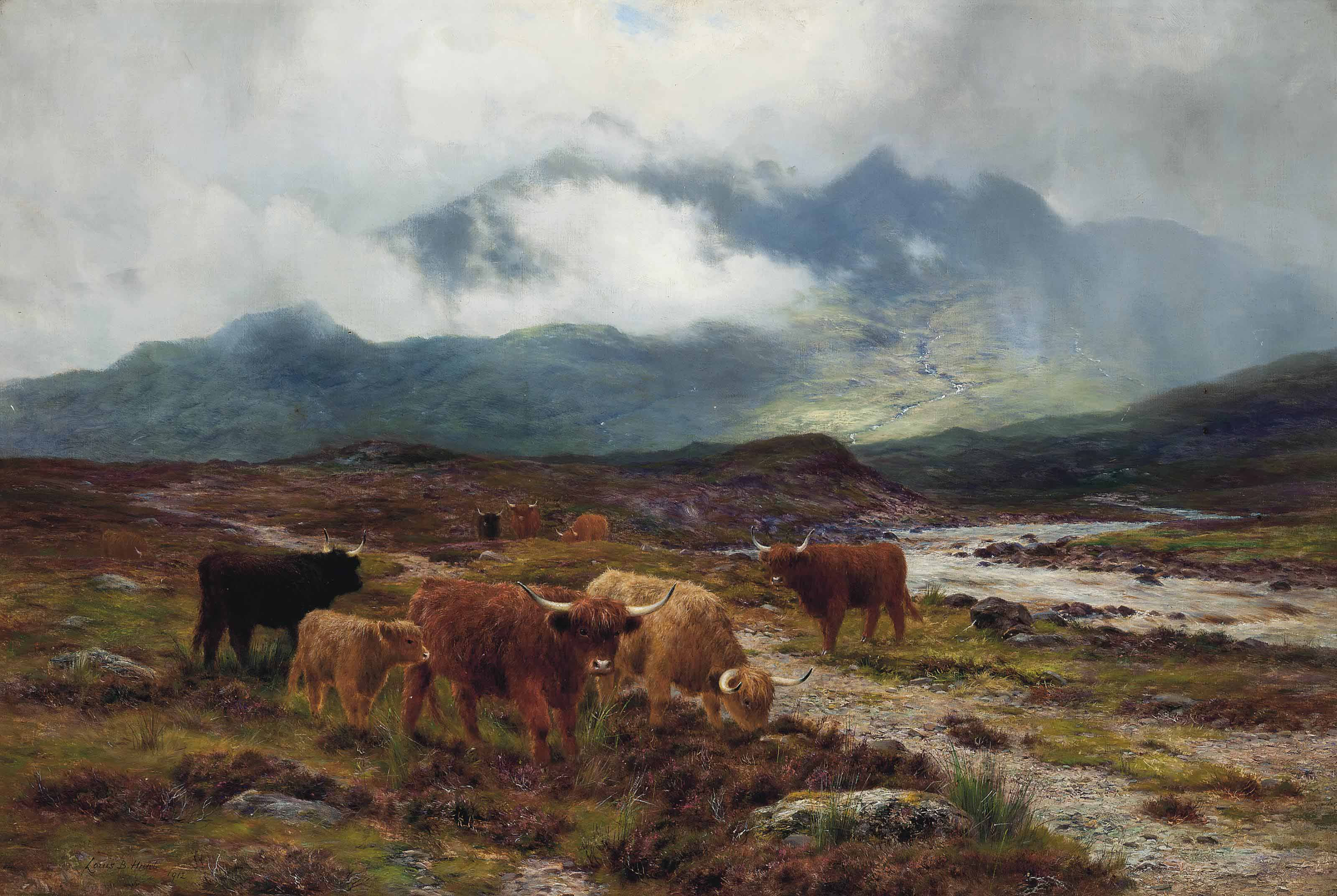 Highland cattle by a mountain stream