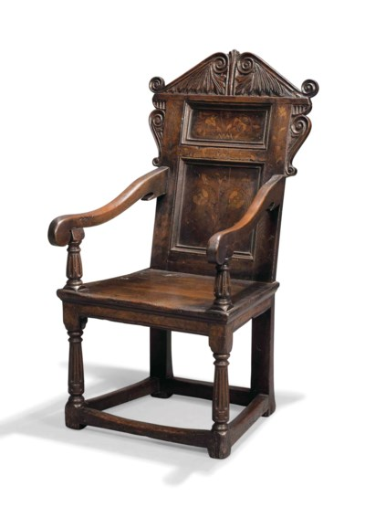 AN OAK AND MARQUETRY ARMCHAIR