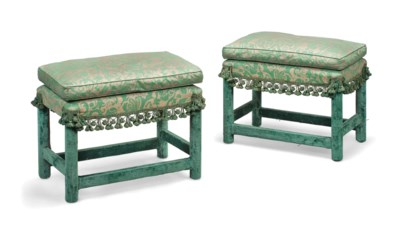 A PAIR OF UPHOLSTERED STOOLS