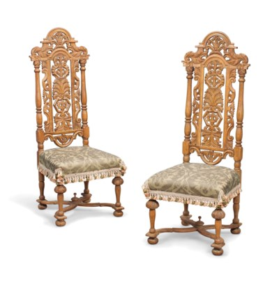 A PAIR OF FLEMISH OAK CHAIRS