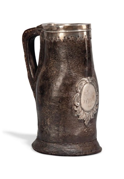 AN ENGLISH SILVER MOUNTED LEAT
